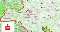 Die sechs mit einem schwarzen X gekennzeichneten Filialen der Kreissparkasse Ostalb werden im März 2019 geschlossen. Repro: rz