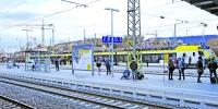 """Ab Juni 2019 werden im Schienenpersonennahverkehr in der Region die neuen Züge von Go-Ahead die Szenerie prägen. Der erste """"Flirt"""" (Typenbezeichnung) hatte dieser Tage im Aalener Bahnhof bereits Premiere Foto: hs"""