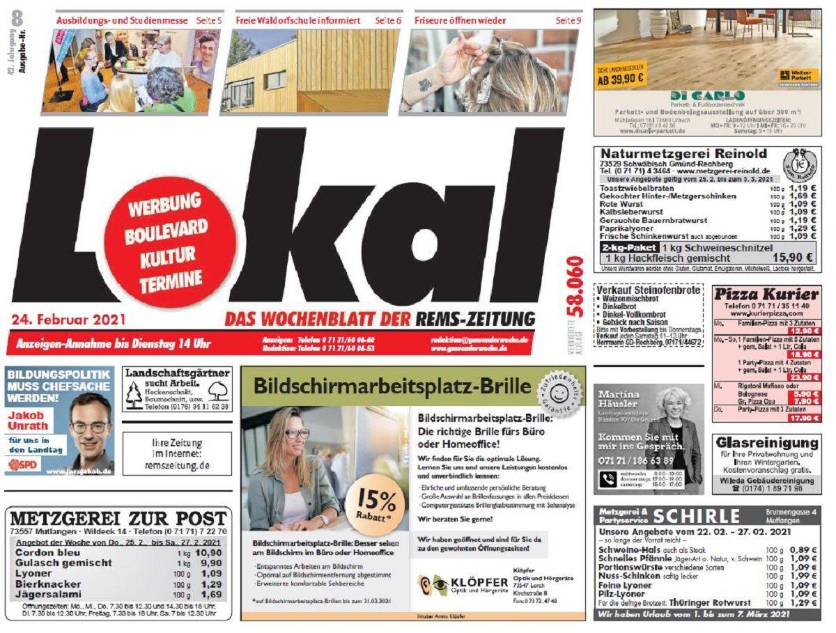 Heute neu: LOKAL das WochenBlatt der Rems-Zeitung